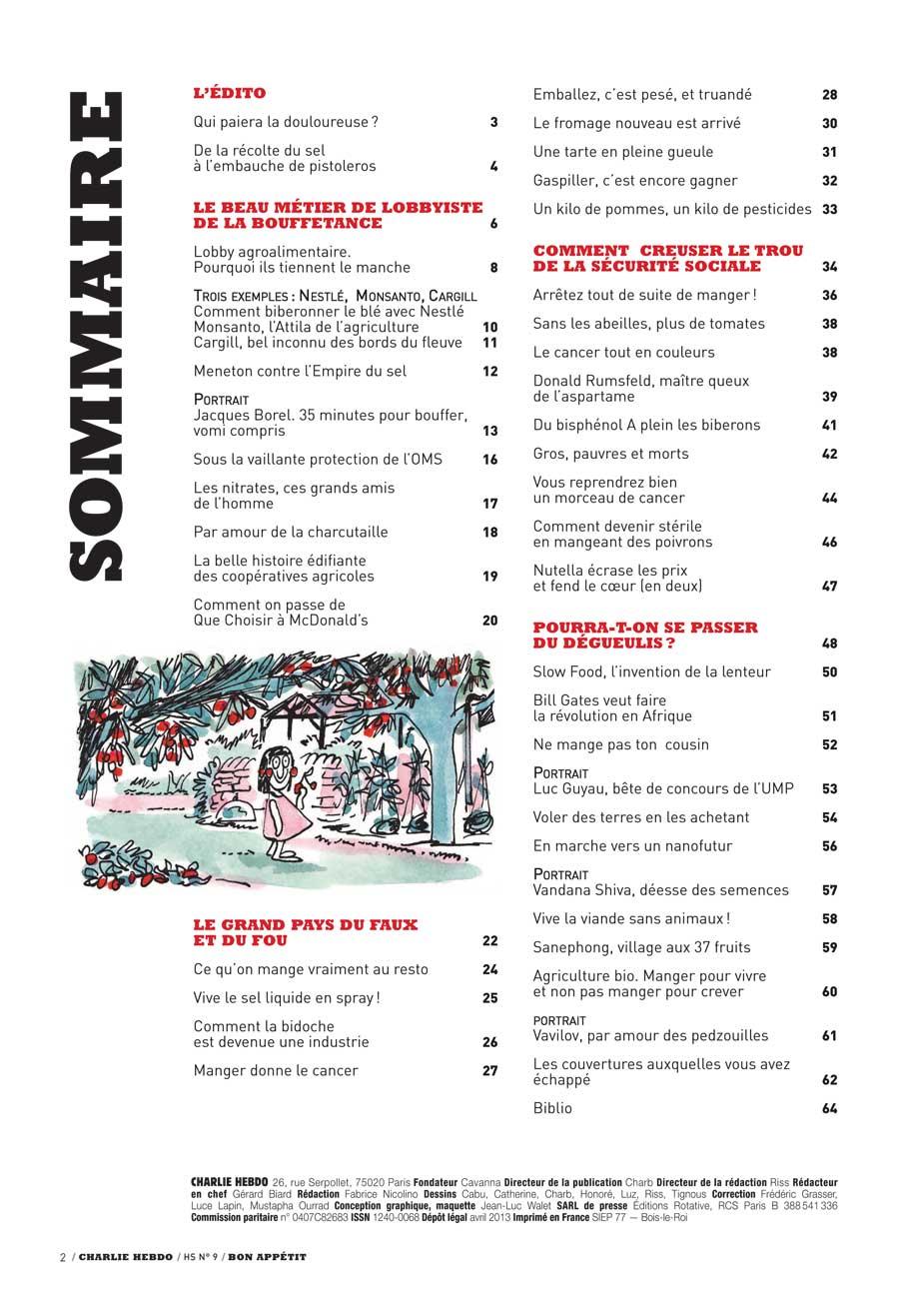 A lire absolument : Hors série Charlie Hebdo sur l'alimentation