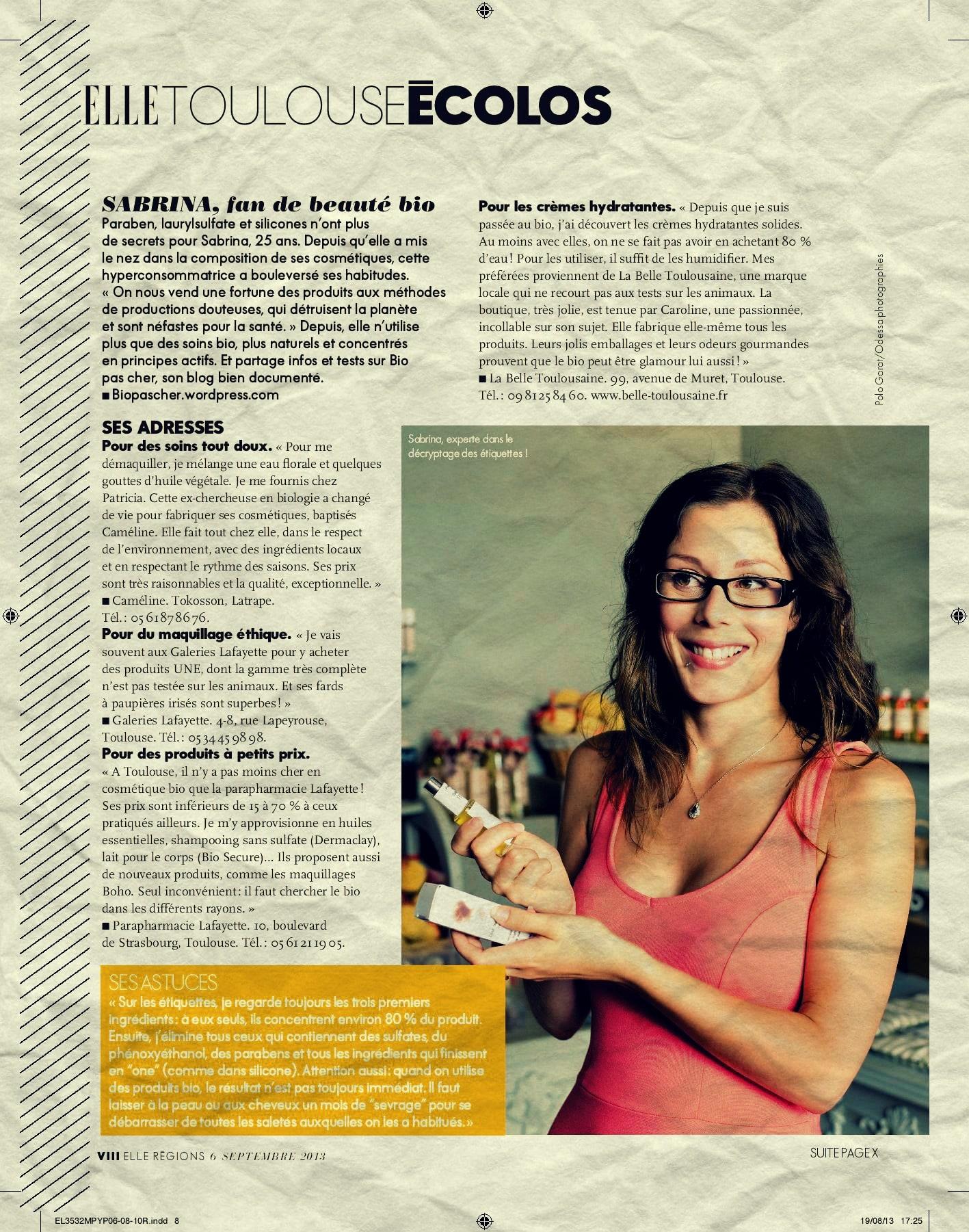 Mes conseils beauté bio dans le magazine ELLE