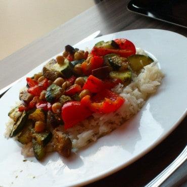 Riz poivron aubergine pois chiches